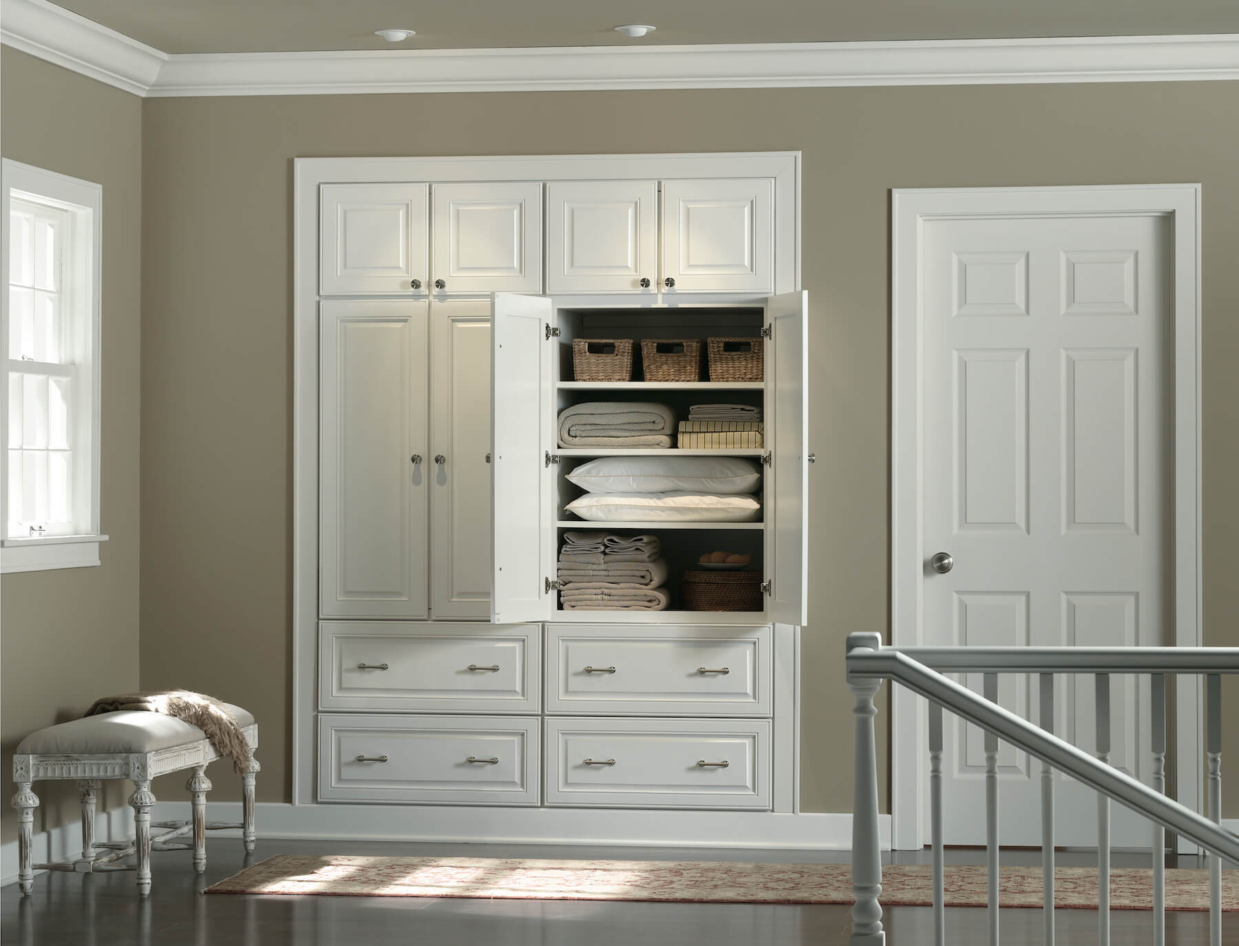 Burnham_Maple_White_Linen_Cabinets Open